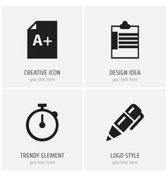 set of 4 editable school icons includes symbols vector image vector image
