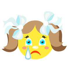 smiley girl cries icons on a white background vector image vector image