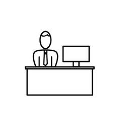 working at the desk icon vector image