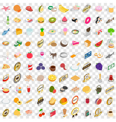 100 mains icons set isometric 3d style vector image