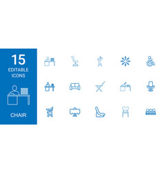 15 chair icons vector