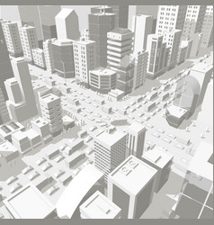 3d city buildings background street in light gray vector image