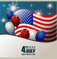 4th july independence day flag balloons fireworks vector