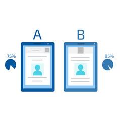 A-b comparison split testing concept vector