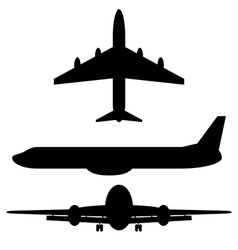 Airplane silhouette icons vector