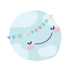 Bashower cute world with around hearts love vector