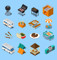 Bbq picnic isometric set vector