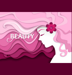 Beauty salon in paper art vector