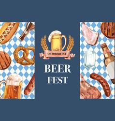Beer sausage pretzel and barbecue frame design vector