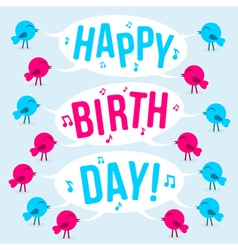 Birds with text Happy birthday vector image