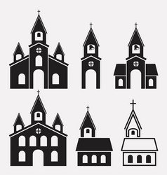 black and white icons church buildings vector image
