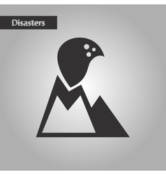 Black and white style volcano erupting vector