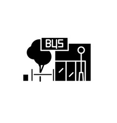 bus stop black icon sign on isolated vector image