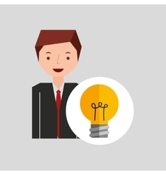 business man cartoon and bulb idea vector image