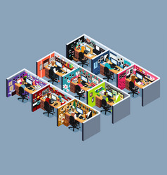 business office cubicles in isometric vector image