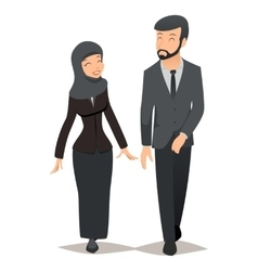Businessman and businesswoman in traditional vector