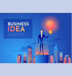 businessman holds up a light bulb on top of the vector image