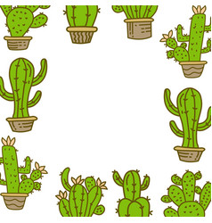 cactus frame empty template vector image