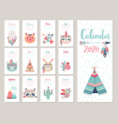 Calendar 2020 cute monthly with forest vector