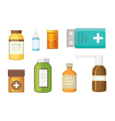 Cartoon medicaments different medical pills and vector