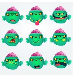 cartoon zombie heads vector image