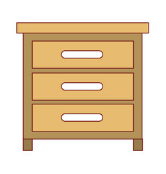 chest of drawers front view in colorful silhouette vector image