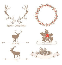 Christmas set with design elements vector image vector image