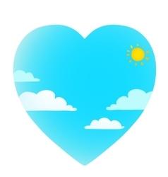Clouds on blue sky with sun heart shape vector