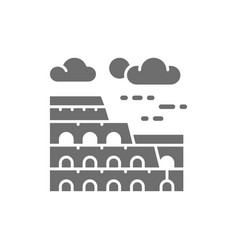 coliseum italy landmark grey icon isolated vector image