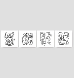 Contemporary abstract faces in one line art style vector