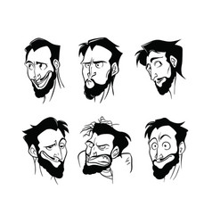 Contour pattern of a set of emotions of a bearded vector