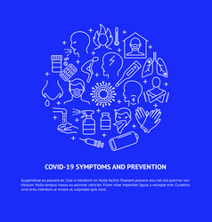 Covid19-19 symptoms and prevention round banner vector