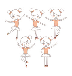 Cute ballerina girls practicing ballet dance vector