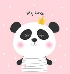 cute cartoon panda princess vector image