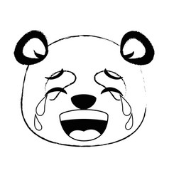 cute panda crying emoji kawaii vector image
