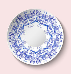 Decorative plate with blue floral ornament in a vector