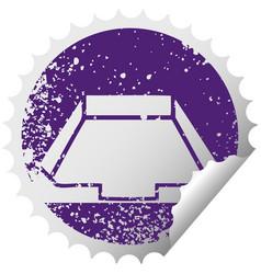 Distressed circular peeling sticker symbol in box vector