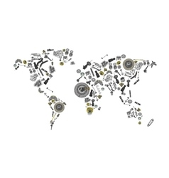 Draw a map of the world made up of spare parts vector