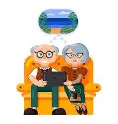elderly travelers beautiful elderly couple dream vector image