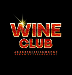 Elite banner wine club red and gold alphabet vector