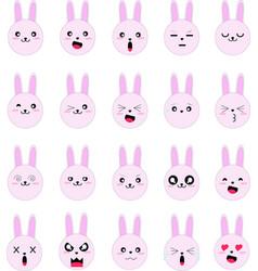 Emoji rabbit divert character flat design vector