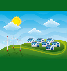 Energy clean - group of houses with panel solar vector