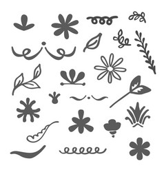 Floral decorative hand drawn elements set isolated vector