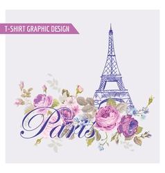 Floral Paris Graphic Design - for t-shirt vector image