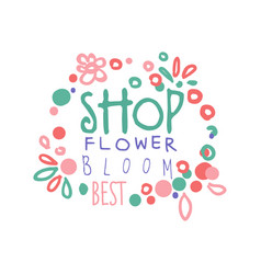 Flower shop bloom best logo template hand drawn vector