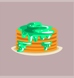 fresh tasty pancakes with jam on a plate vector image