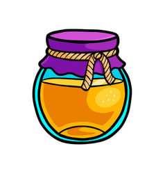 Glass honey jar with textile part with cotton rope vector
