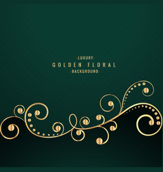Golden floral design on green background vector