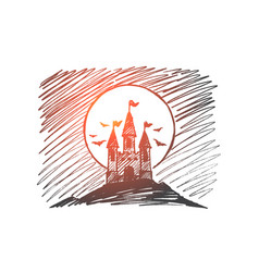 hand drawn halloween dracula castle on hill vector image
