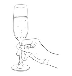 hand with glass of champagne vector image